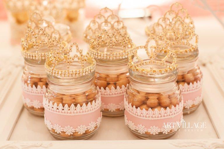 princess themed candy jar favors