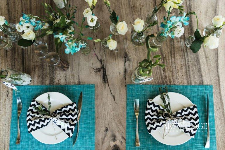 blue and white floral arrangements