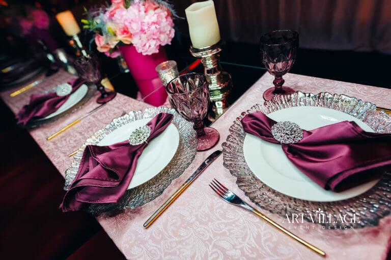 pink and purple table arrangements