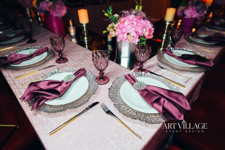 sophisticated birthday table set-up